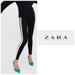 Zara Black Crop Leggings with White Stripe